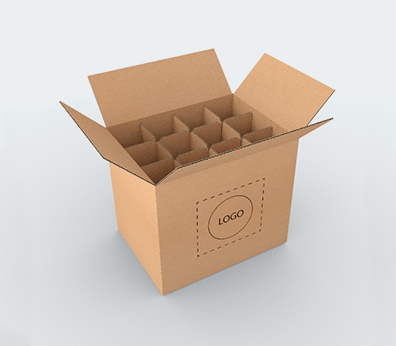 Bottle Cardboard Boxes with Dividers Customised with your design