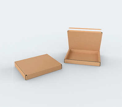 Single Wall Cardboard Postal Boxes with Adhesive Lock for Flat Products Customised with your design