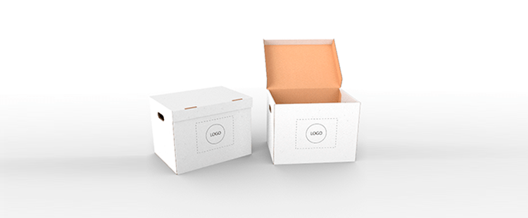 Single Wall Cardboard Boxes with Side Handles and Attached Lid