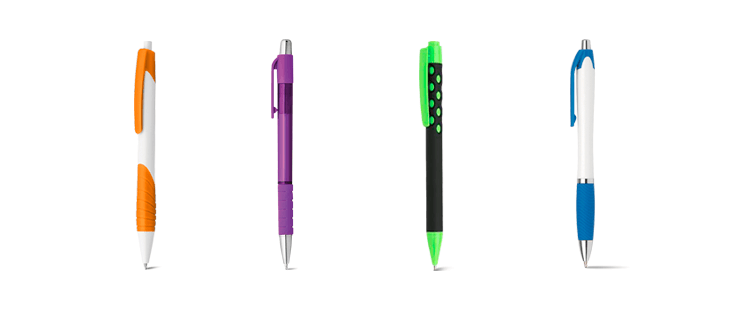 Plastic grip pen with rubber detail