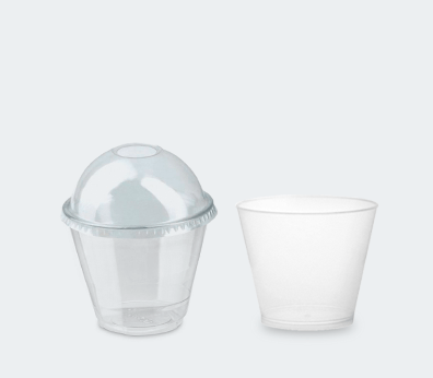 Transparent conical cup