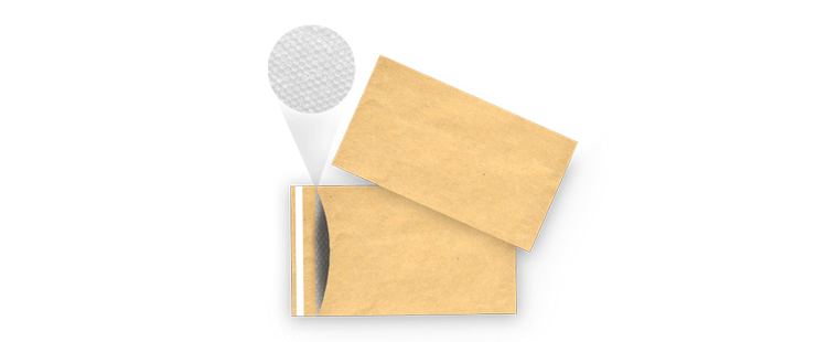 Paper bubble envelope with adhesive closure