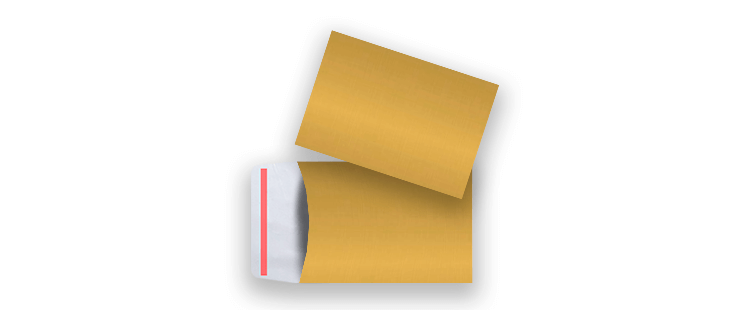 Manilla gusset envelope with adhesive closure