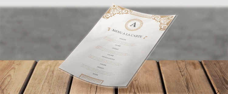 Gelamineerde menu's
