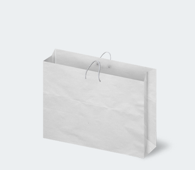 Horizontal paper carrier bag with corded handles