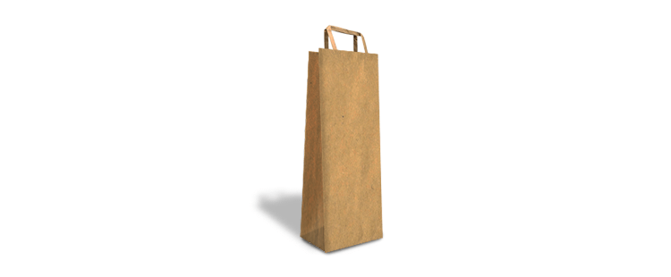 Paper carrier bag with flat handles for 1 bottle