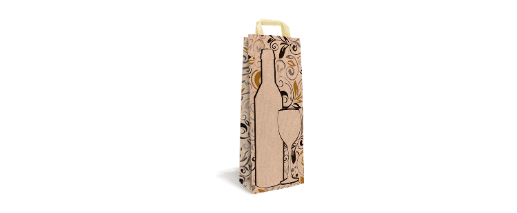 Patterned paper carrier bag with flat handles for 1 bottle