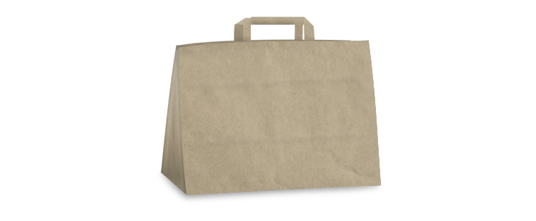 Horizontal paper carrier bag with flat handles