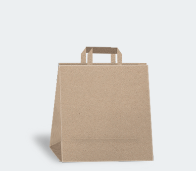 Square shaped paper carrier bag with flat handles