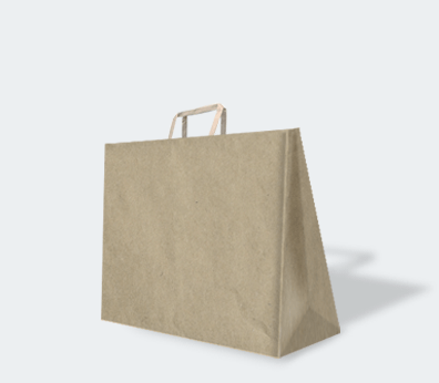 Take-away paper carrier bag with flat handles