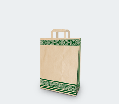 """Vertical paper carrier bag with flat handles """"Green Pattern"""""""