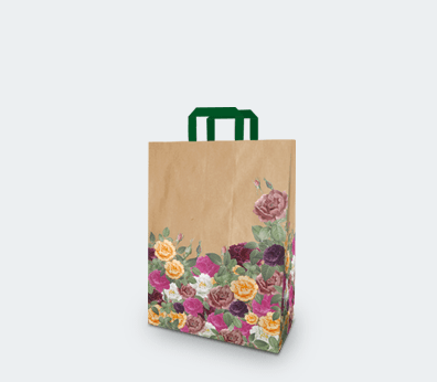 """Vertical paper carrier bag with flat handles """"Roses"""""""