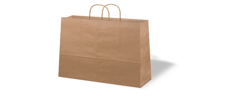 Horizontal paper carrier bag with twisted handles