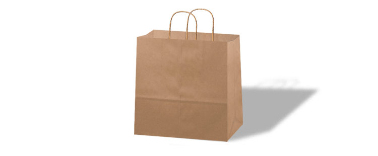 Take-away paper carrier bag with twisted handles