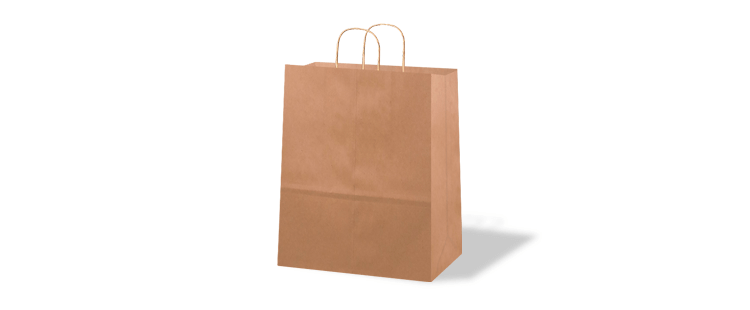 Vertical paper carrier bag with twisted handles