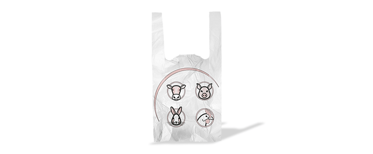 Plastic bag with handles for meat (kg)