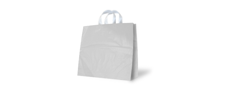 High density plastic bag with flexi handles